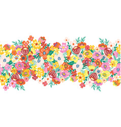 blooming flowers seamless border a lot of vector image