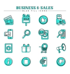 Business and sales blue fill icons set vector image