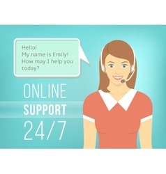 Call Centre Support Girl with Headphones vector image