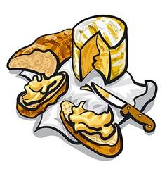 Cheese and bread vector