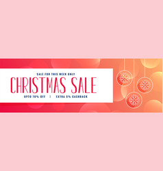 christmas sale banner design in orange color vector image