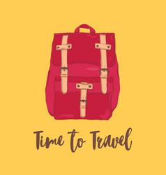 classical red fold over backpack or rucksack in vector image