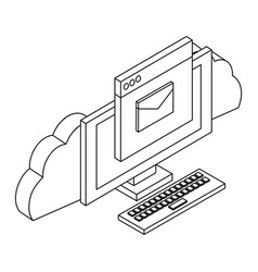 cloud computing technology in black and white vector image