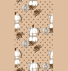 coffee kettle and croissant vintage retro pattern vector image