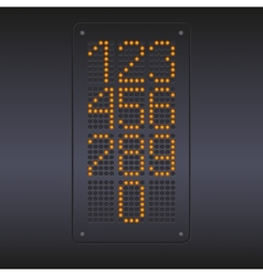 Colorful yellow led panel with numbers vector