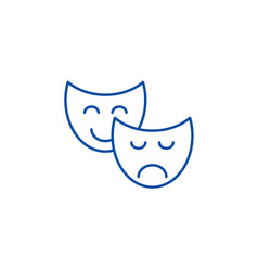 comedy and tragedy line icon concept comedy and vector image