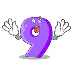 Crazy paper cut number nine letter mascot vector