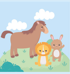 Cute horse lion and rabbit meadow cartoon animals vector