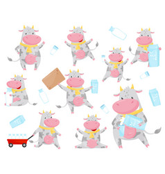 cute spotted cow in different situations set vector image