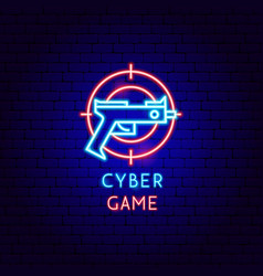 cyber game neon label vector image