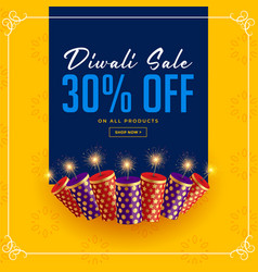 Diwali sale and offer crackers celebration vector