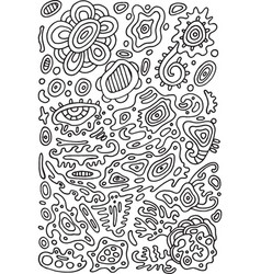 Doodle psychedelic coloring page with abstract vector