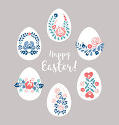 easter eggs with floral decoration vector image