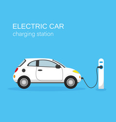 Electric car and charging station vector