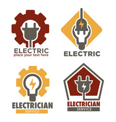 Electrician service isolated icons electricity vector
