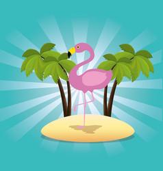 Exotic flamingo bird in the beach vector