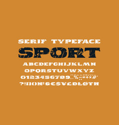 Extended serif font in the sport style vector