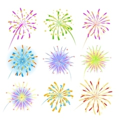 Fireworks celebration collection for holiday vector image