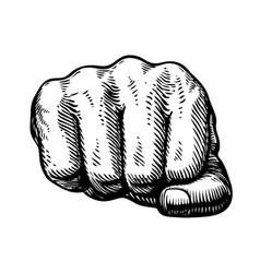 Fist hand gesture sketch punch symbol vector