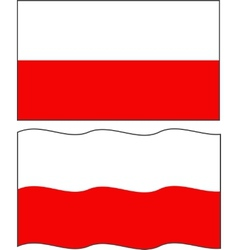 Flat and waving Polish Flag vector