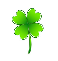 four leaf green clover hand draw lucky vector image