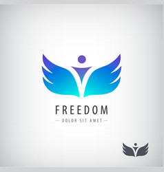 Freedom logo concept man with wings vector