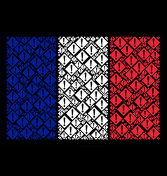 French flag collage of warning icons vector