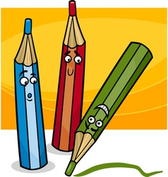 funny crayons cartoon vector image