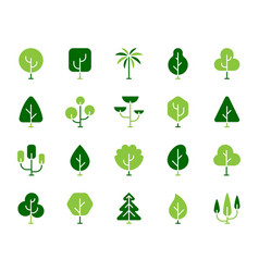 geometric trees simple color flat icons set vector image