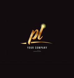 gold alphabet letter pl p l logo combination icon vector image