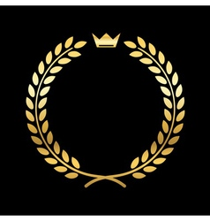Gold laurel wreath with crown vector image
