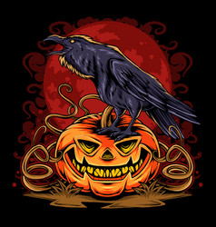 halloween crow on pumpkin on full moon vector image