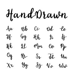 hand drawn alphabet brushpen letters vector image
