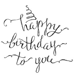 Hand-written Happy Birthday Lettering vector image