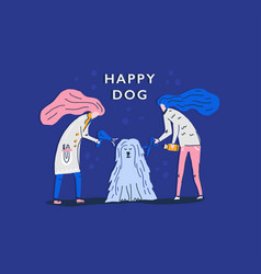 happy dog grooming vector image