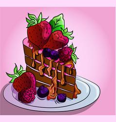 Healthy food a piece chocolate vector