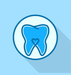 heart on tooth logo icon flat style vector image