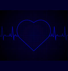 heart rate heartbeat neon line on blue graphic vector image