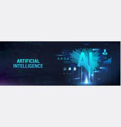 Hi-tech technology banner ai vector