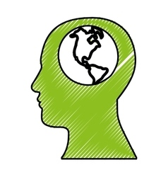 Human head with planet earth icon image vector
