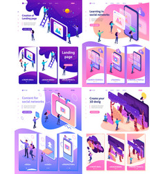 isometric learning content for social network vector image