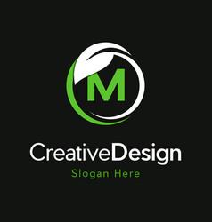 Letter m circle leaf creative business logo vector