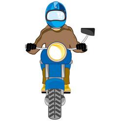 Man in defensive send on motorcycle type frontal vector