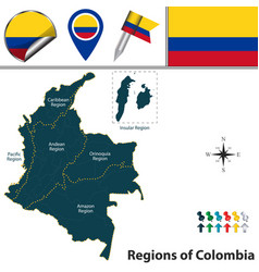 Map of colombia with natural regions vector