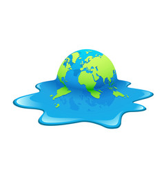 Melting earth concept global warming design vector