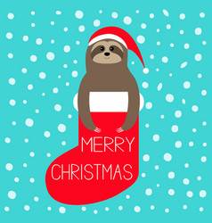 merry christmas sloth in red sock santa hat snow vector image