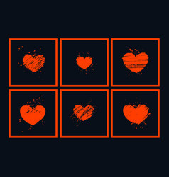 modern art composition with red hearts on black vector image