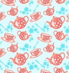 Morning tea seamless pattern vector
