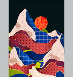 mountain landscape with different textures vector image