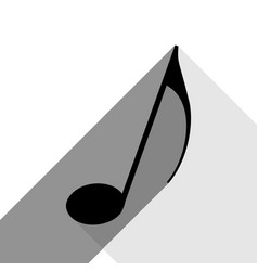 music note sign black icon with two flat vector image